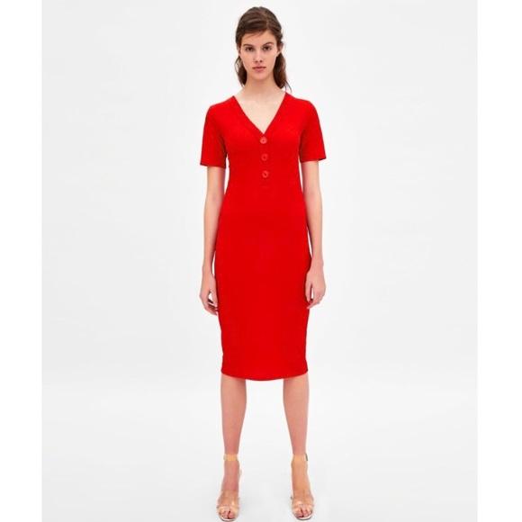 6858df35 Zara Dresses | Ribbed Dress With Buttons | Poshmark